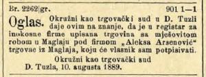 TMR Aleksa Arsenović 10.08.1889.