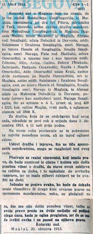 Omersoftic, Smajlagic Uzeirbegovic SL 11 11 1913