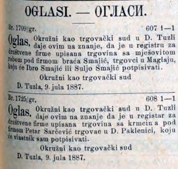 SL 07 07 1887 upis trgovine u registar braca smajic, sarcevic paklenica