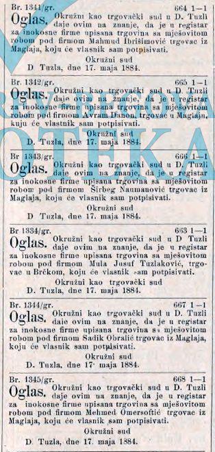 SL 05 05 1884 Trgovci S Obralic, A Danon, S Numanagic, M Omersoftic